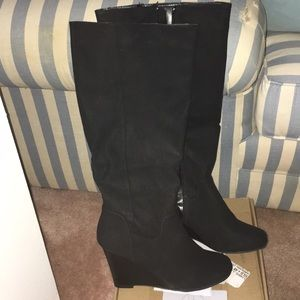 """New Women's Black Tall Boots 3"""" Wedge Heel size 9"""
